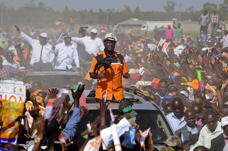 Odinga arrives at a campaign rally in Kisumu, 3 August 2017.