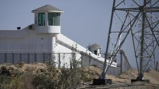 Watchtowers on a high-security facility at what is believed to be a re-education camp in China's Xinjiang region