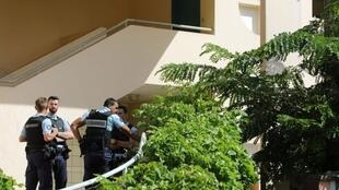 Gendarmes at the scene of the shooting in in Saint-Denis-de-la-Reunion