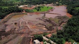 vue aérienne du désastre de Brumadinho, au Minas Gerais, Brésil, le 25 janvier 2019.