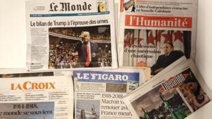 Primeiras páginas dos jornais franceses de 05 de novembro de 2018