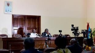 Marcel Utembi, chef des évêques congolais, et Abbot Donatien Nshole, secrétaire général de la CENCO, le 31 décembre à Kinshasa.