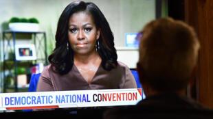 L'ex-première dame des États-Unis Michelle Obama en visioconférence, lors de la convention démocrate de Milwaukee, le 17 août 2020.