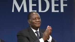 Le président ivoirien Alassane Ouattara, lors d'une réunion à Paris, le 27 janvier 2012.