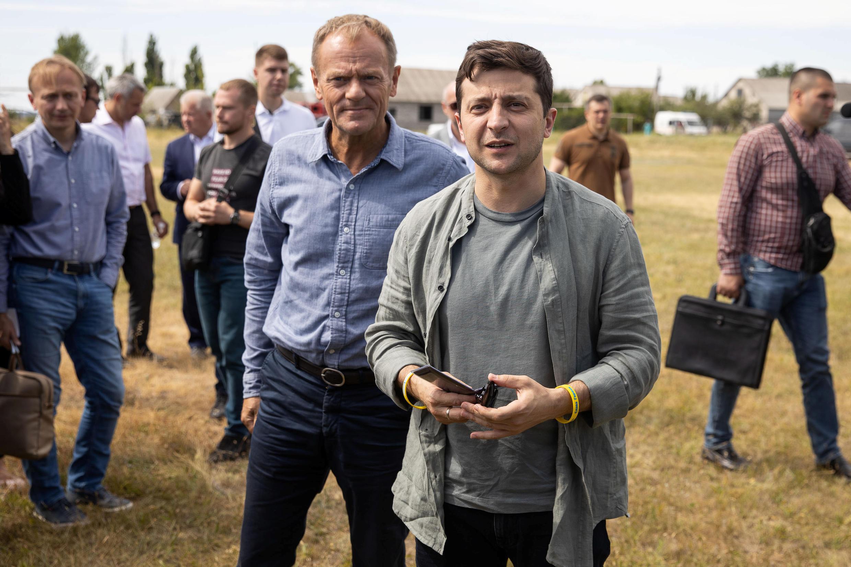 Президент Украины Владимир Зеленский и президент Европейского совета в Луганской области, 7 июля 2019 г.