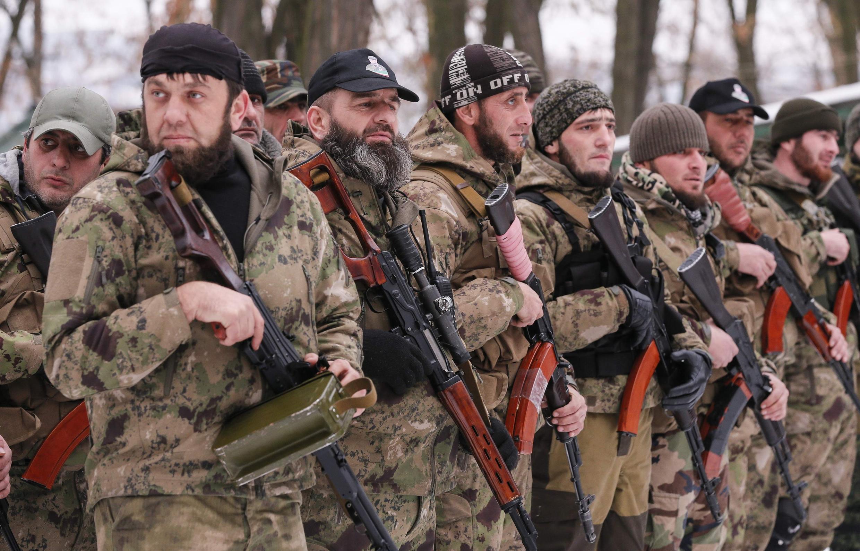 """Чеченский батальон """"Смерть"""", воюющий на стороне ДНР 08/12/2014"""