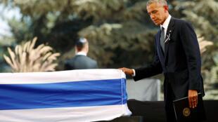 O presidente americano, Barack Obama, durante o funeral do ex-presidente israelense e prêmio Nobel da Paz, Shimon Peres, em Jerusalém, nesta sexta-feira (30).