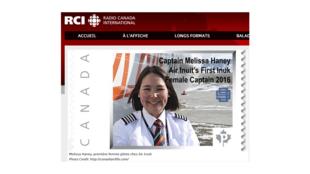 Melissa Haney, première femme pilote inuite chez Air Inuit (capture d'écran).