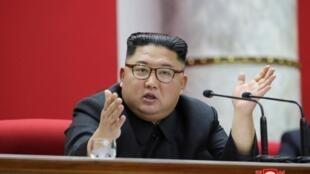 Lãnh đạo Bắc Triều Tiên Kim Jong phát biểu tại Hội nghị Trung ương 5, khóa 7 Đảng Lao Động Triều Tiến. Ảnh do KCNA phổ biến ngày 31/12/2019. KCNA