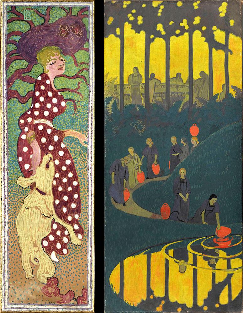 Слева: Пьер Боннар. Женщины в саду. 1890-91. Справа: Поль Серюзье. Женщины у источника. 1899. Музей Орсе.