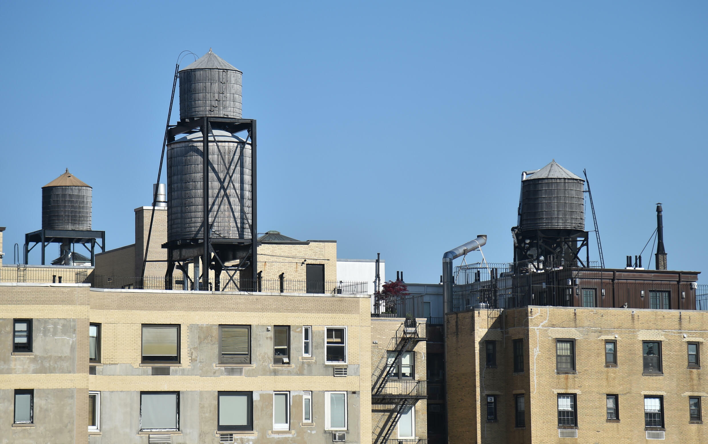 Water tanks, similar to those made by Hall-Woolford, are seen in New York in May 2018