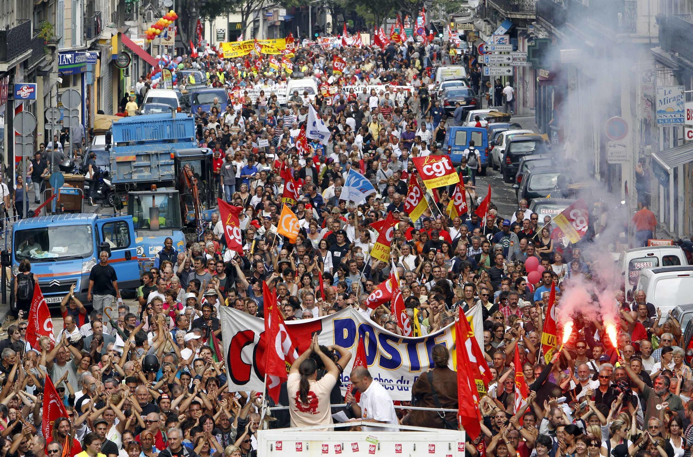 Manifestações contra a reforma da aposetadoria na cidade Marseilha.