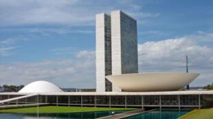 Vue du bâtiment du Congrès brésilen (Chambre des députés et Sénat).