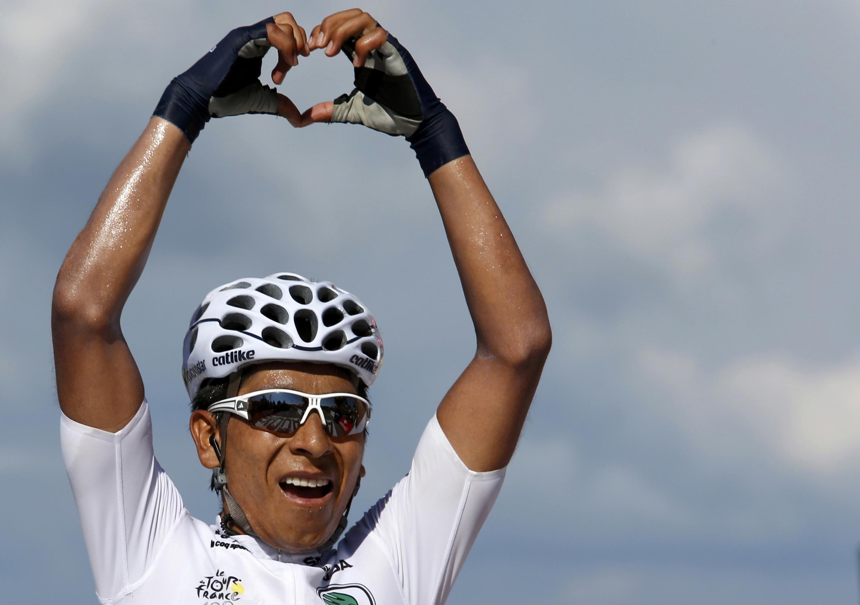 Nairo Quintana, celebrando una victoria de etapa en el Tour de Francia 2013