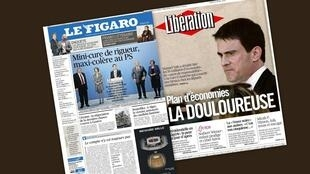 Capa dos jornais franceses Libération e Le Figaro desta quinta-feira (17).