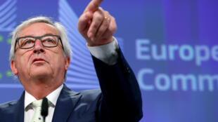 Le président de la Commission européeenne, Jean-Claude Juncker, lors d'une conférence suite à l'adoption du Brexit par le Royaume-Uni, le 24 juin 2016.