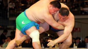 Le lutteur de «ssireum» Park Young-Bae (g.) face au champion Kim Kyung-Soo lors d'un combat d'exhibition à Tokyo le 23 octobre 2005.