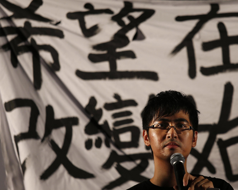 Alex Chow, tổng thư ký Liên đoàn sinh viên Hồng Kông phát biểu trong dịp khởi động chiến dịch Occupy Central ngày 31/08/2014.