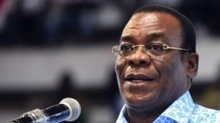Le président du Front populaire ivoirien (FPI), Pascal Affi N'Guessan, pendant son discours au congrès de son parti, le 27 juillet 2018, au Palais des sports de Treichville à Abidjan.