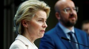 O Presidente do Conselho da UE Charles Michel e a Presidente da Comissão Europeia Ursula von der Leyen. 09/03/2020