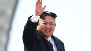 圖為朝鮮領袖金正恩與2017年4月