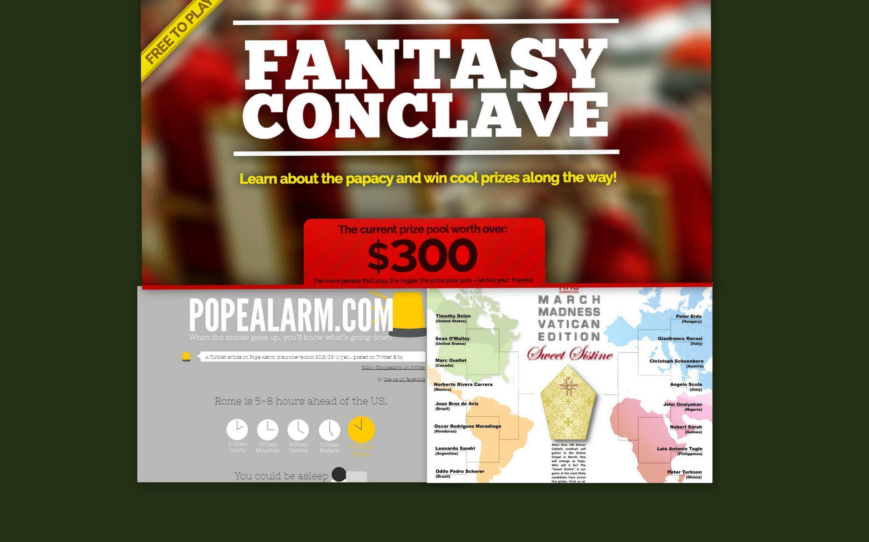 Fotomontagem dos sites Fantasy, religionnews, e popealarm.