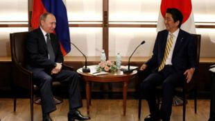 Thủ tướng Nhật Shinzo Abe (phải) và tổng thống Nga Vladimir Putin, gặp nhau tại Nagato, tỉnh Yamaguchi, Nhật BẢn ngày 15/12/2016.