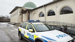 Devant la mosquée d'Uppsala, en Suède, ce 1er janvier 2015.