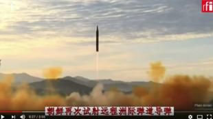 朝鲜11月29日再次试射一枚洲际弹道导弹,2017年。