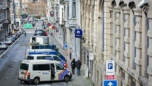 Police vehicles in Verviers, eastern Belgium, on January 16, 2015, a day after the police raid that busted the so-called Verviers terror cell.