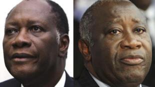 Alassane Ouattara (G) et Laurent Gbagbo (D)