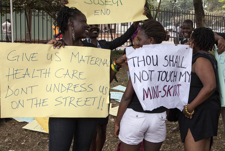 Kampala women protest ban on mini-skirts