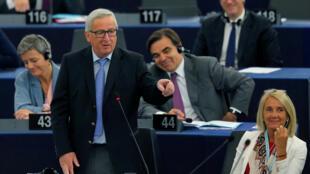 Ảnh minh họa : Chủ tịch Ủy Ban Châu Âu Jean-Claude Juncker phát biểu tại Nghị viện Châu Âu ở Strasbourg, Pháp, ngày 30/05/2018.