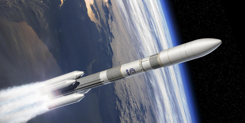 Imagens de simulação do futuro foguete Ariane 6.