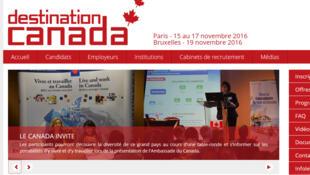 La page d'accueil du site Destination Canada