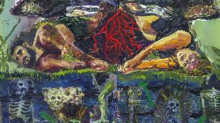 Detalhe de uma das pinturas do artista brasileiro Thiago Martins de Melo expostas na Bienal de Lyon.