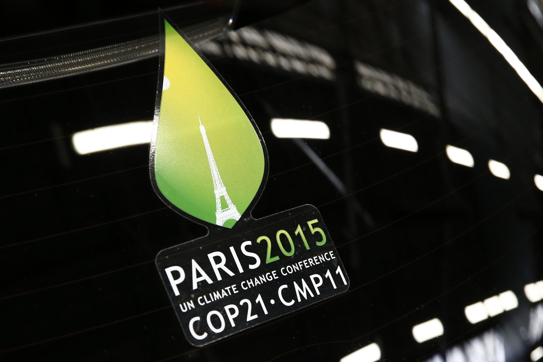 Logo de la COP 21. La conférence de Paris sur le climat s'est tenue du 30 novembre au 12 décembre 2015 au Bourget, en banlieue parisienne.