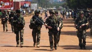 Wanajeshi wa Ufaransa wakifanya doria kwenye mji mkuu Bangui nchini Afrika ya Kati