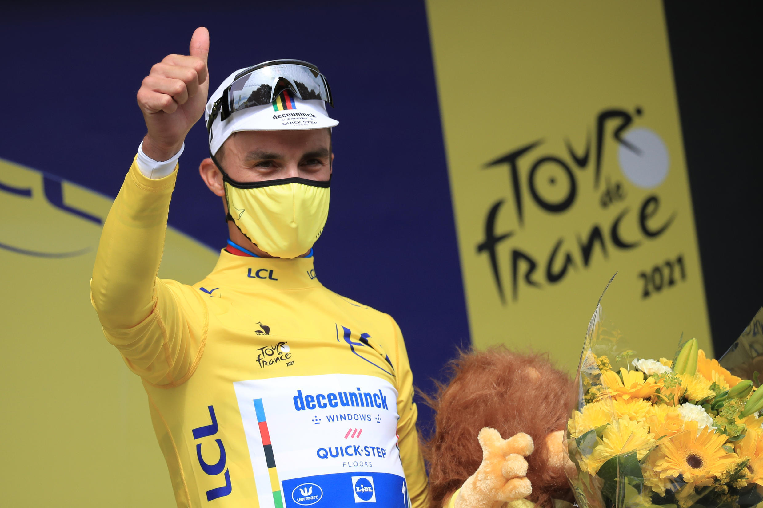 French rider Julian Alaphilippe (Deceuninck) winner of the first date of the Tour de France, between Brest and Landerneau, 26 June 2021