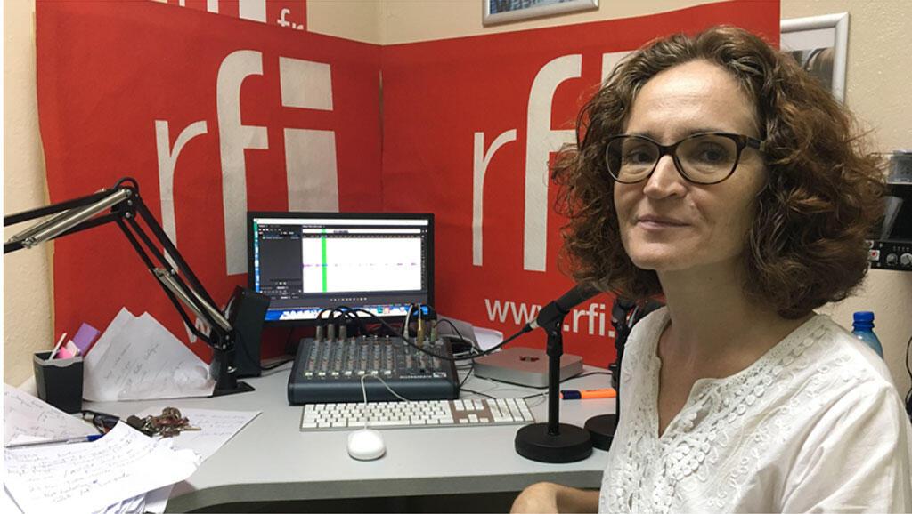 Pascale Jauney au studio de RFI à Port-au-Prince.