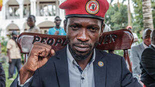 Ugandan opposition leader Robert Kyagulanyi, also known as Bobi Wine, poses for a photograph after his press conference at his home on Tuesday