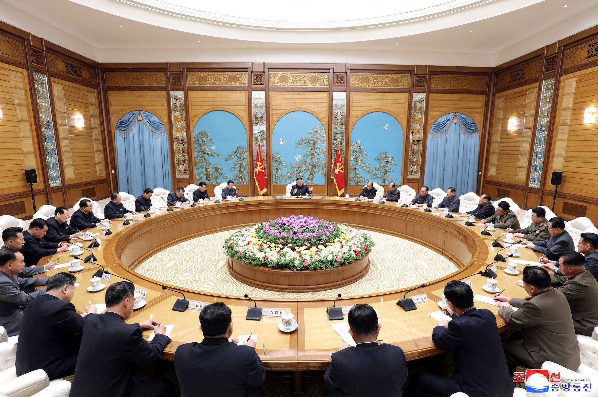 Kim Jong-Un leads a meeting of the Politburo of the Central Committee of the Workers Party of Korea, April 11, 2020, the last time Kim was seen in public