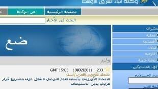 A screen shot of MENA's website