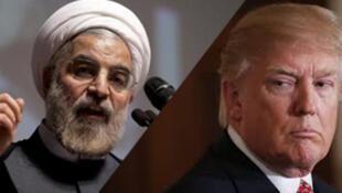 伊朗总统鲁哈尼与美国总统特朗普资料图片