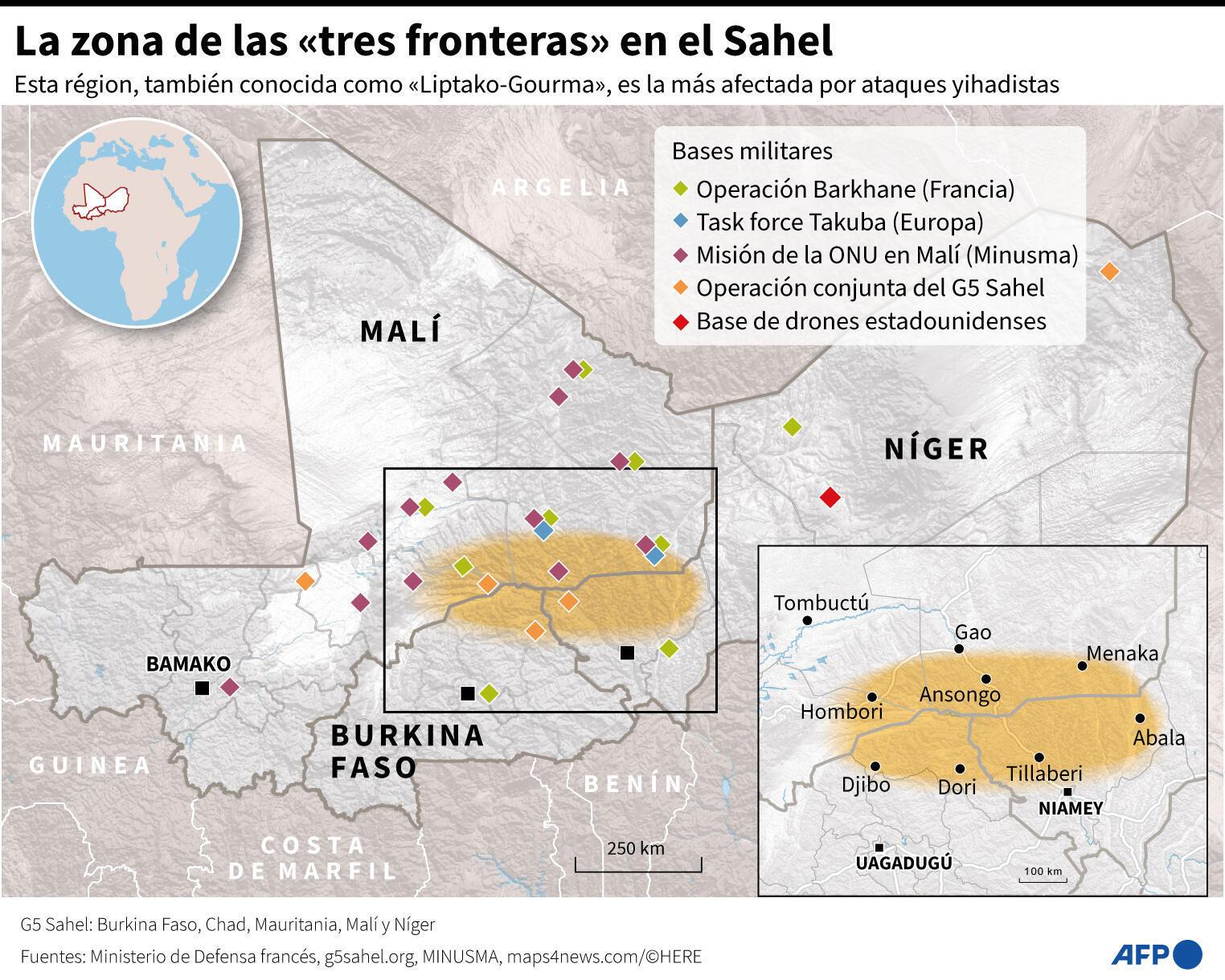 """La zona de las """"tres fronteras"""" en el Sahel"""