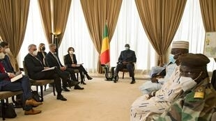 Malian President, Bah Ndaw (C) meets with the French Minister of the Armed Forces, Florence Parly (C-L), at the Presidential Palace in Bamako, Mali on April 1, 2021.