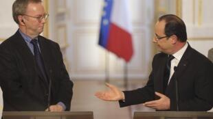 2013年2月1日法國總統奧朗德與谷歌執行董事長埃里克∙施密特(Eric Schmidt)達成協議後共同出席新聞發布會