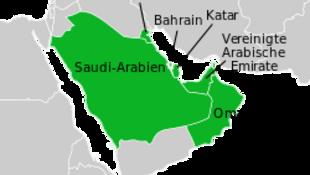 圖為海灣阿拉伯國家合作委員會成員國分布地圖