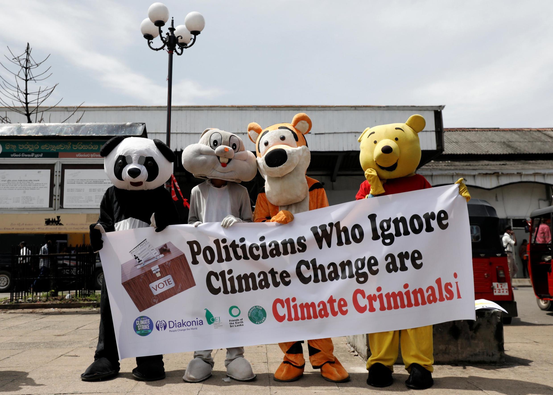 Климатические активисты в Коломбо, Шри-Ланка, 20 сентября 2019