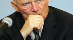O ministro das Finanças alemão, Wolfgang Schaeuble, durante coletiva de imprensa do G20, na cidade do México.